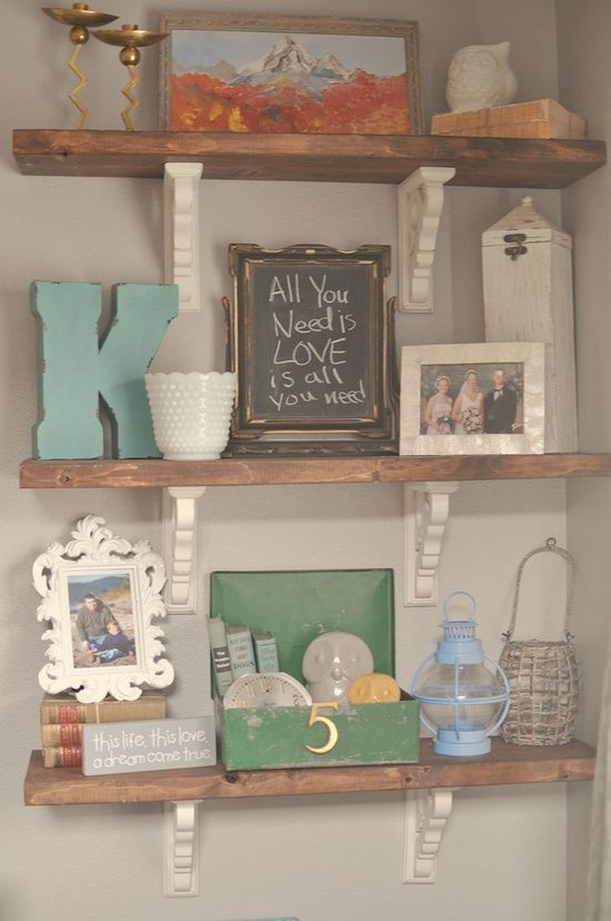 Rustic Shelves Tutorial...like the white and natural wood mixed - MyHomeLookBook
