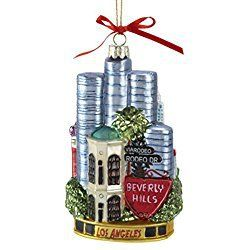"""Los Angeles Christmas Ornament Pack of 6 City of Los Angeles Glass Christmas Ornaments 5.5"""""""