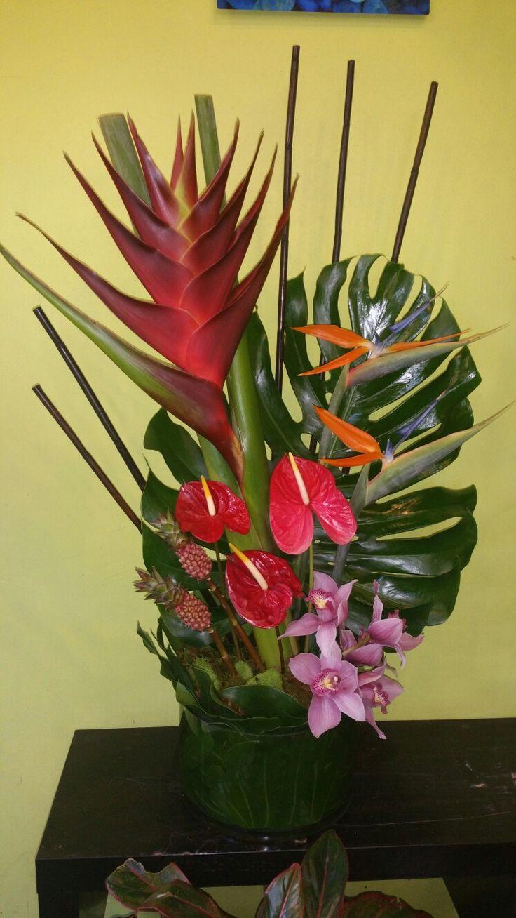 Lovely tropical arrangement. Orchid arrangements, Flower