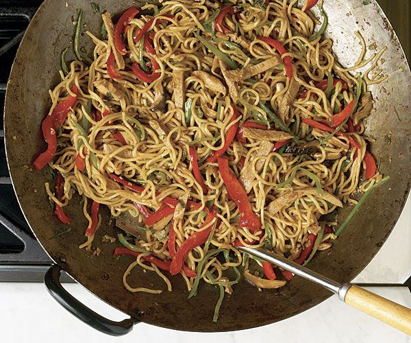 Ham Lo Mein with Shiitake and Snow Peas recipe
