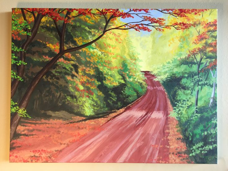 Prince Edward Island is famous for its red soil. This oil painting showcases the rich colours of a red clay laneway in rural PEI, surrounded by early fall colours.