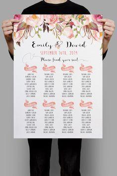 Personalisierte Hochzeit Seating Chart Tabelle Sitzecke Plan druckbare Pink Floral Floral Tischplan, Boho Hochzeit Dekoration DIY Digitaldateien von HappyLifePrintables auf Etsy https://www.etsy.com/de/listing/259818762/personalisierte-hochzeit-seating-chart