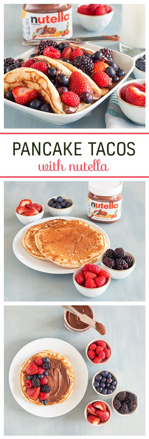 Who says you need a fork to enjoy your pancakes? Swap taco shells for pancakes and fill with fruit and Nutella® for this easy breakfast pick-me-up.