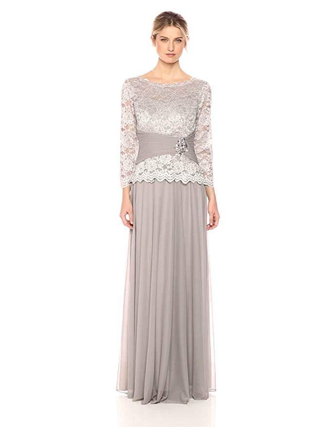 e71c4cbddbb Cachet Women s Faux 2 Piece Lace Gown