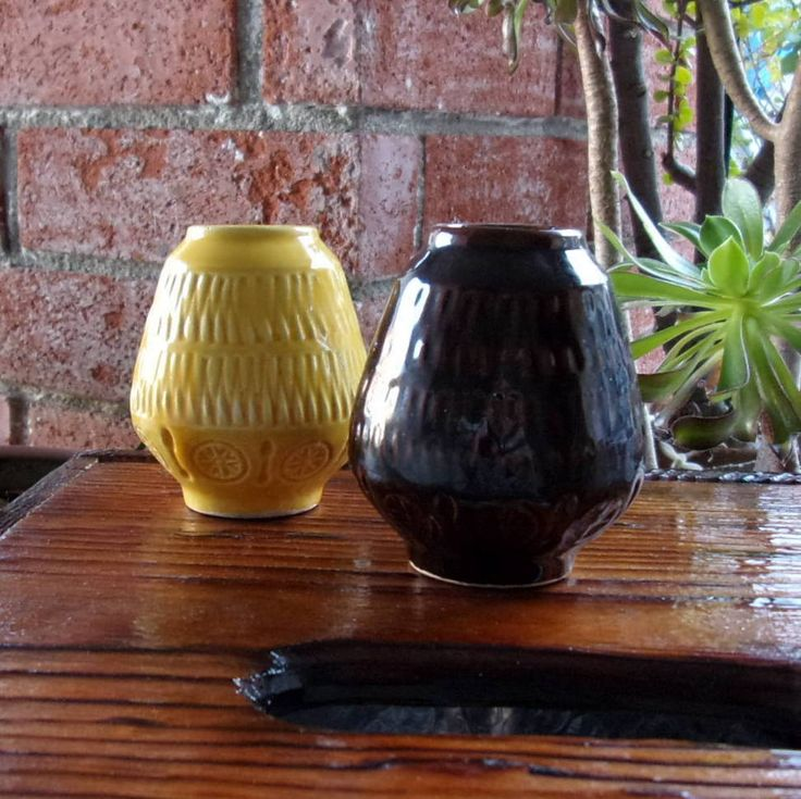 Bay Keramik Ceramic Vases Two West German Pottery 1960s Yellow Brown WGP Mid Century Home Decor West Germany Vintage Ceramics Vase by CaliCollectables on Etsy