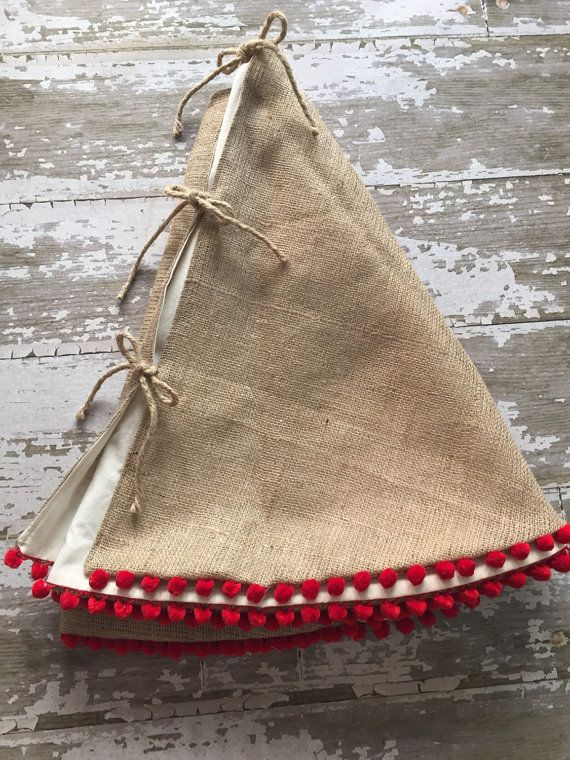 Burlap Christmas Tree Skirt with Red Pom Pom Fringe by BurlapBabe