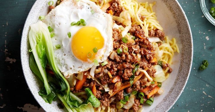 Topped with a sunny-side up fried egg, these moreish, quick and easy beef mince noodles are ready in just 15 minutes.