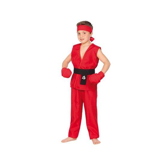 Kung Fu strijder pak voor kinderen. Dit rode Kung Fu strijder kostuum voor kinderen bestaat uit een shirt, broek, hoofdband, riem en handschoenen. Carnavalskleding 2015 #carnaval