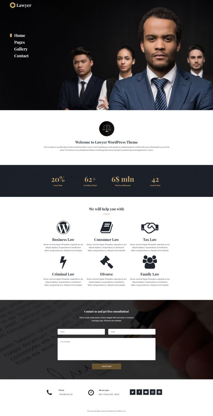 Multipurpose Business WordPress theme for small business.  PE Lawyer - demo example for small business. https://www.pixelemu.com/wordpress-themes/i/3-business/241-lawyer #lawyer #business #site #website #webpage #theme #demo #multipurpose