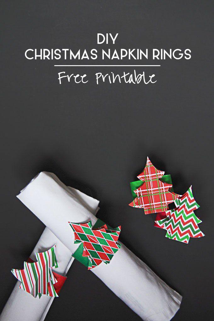 DIY Christmas Napkin Ring Printable . free Christmastree printables for napkin rings or ... http://www.littlehouseonthecorner.com/diy-christmas-napkin-rings/