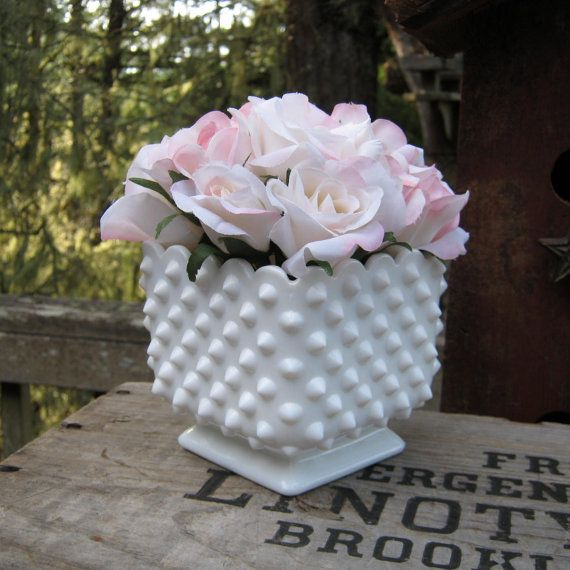 Fenton Milk Glass Hobnail Square Vase by oakhillvintage on Etsy, $22.50