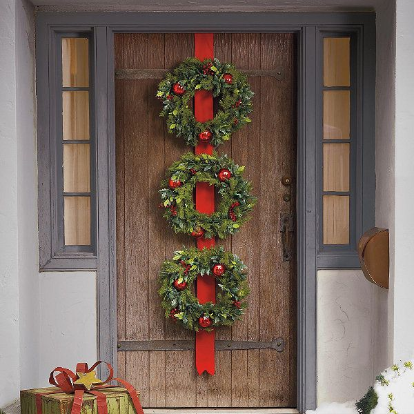 Cordless holly and berry wreaths on ribbon berry wreath for 3 wreath door decoration