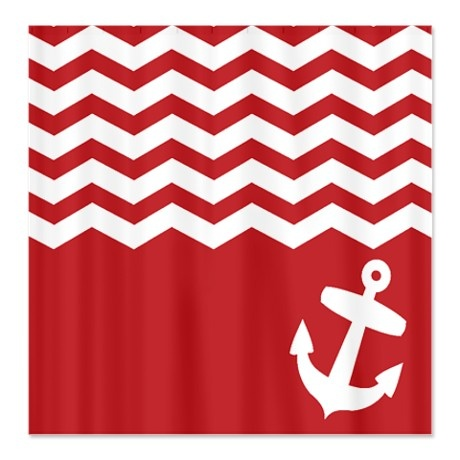 Nautical Red Chevron Anchor Shower Curtain