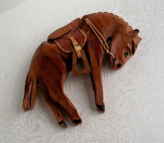 Wooden Vintage Horse Brooch