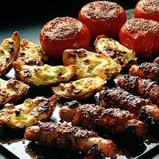 Glazed Bacon-wrapped Pork Sausages with Crispy Cheese Potato Skins: 30 Minute Meals, 30 Min Meals, Chee Potatoes, Glazed Pork, Potatoes Skin, Pork Sausages, Cheese Potatoes, Glaze Pork, Bacon Wraps Pork