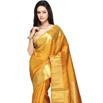 Mustard Pure Kanchipuram Handloom Silk Saree with Blouse