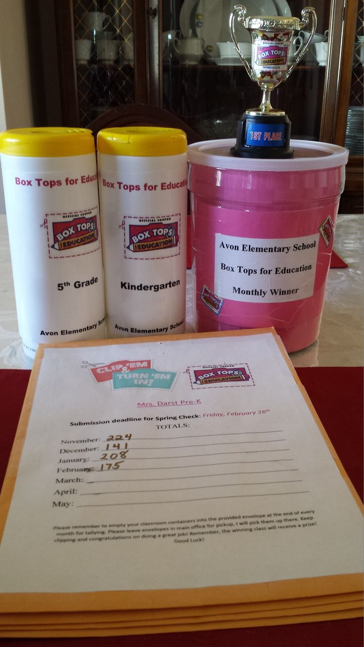 Our Monthly Box Tops Contest. Collection tubs, envelopes for turning in and a monthly prize bucket and traveling trophy.