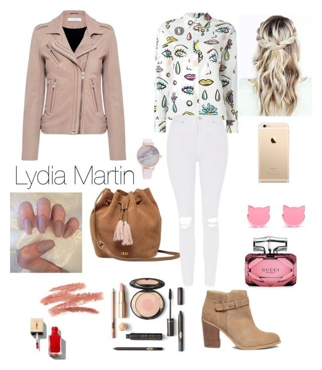 Lydia Martin Style / Teen Wolf by camibg on Polyvore featuring polyvore fashion style IRO Boutique Moschino Topshop Sole Society UGG Gucci clothing / Outfit series / Elena Gilbert / Hailey Baldwin / Kendall jenner / Kylie jenner / Look feminino / Look escola / Look patricinha / ❤