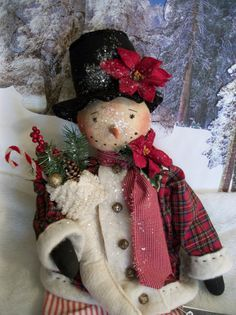 ***Holding stocking... Primitive snowman dollPattern27 inches by Dumplinragamuffin