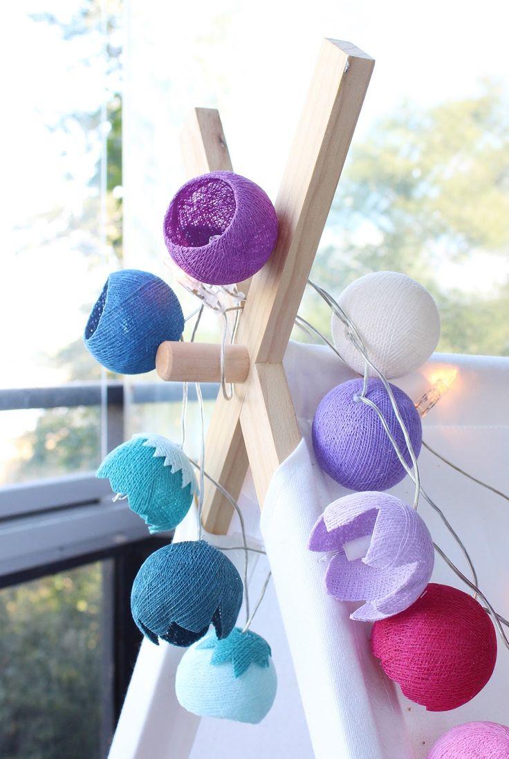 Remake a colorful lights garland to a flower garland.