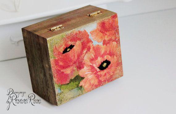 Jewelry box  decoupage box  poppy box  unique gift by ByRoxanaRusu