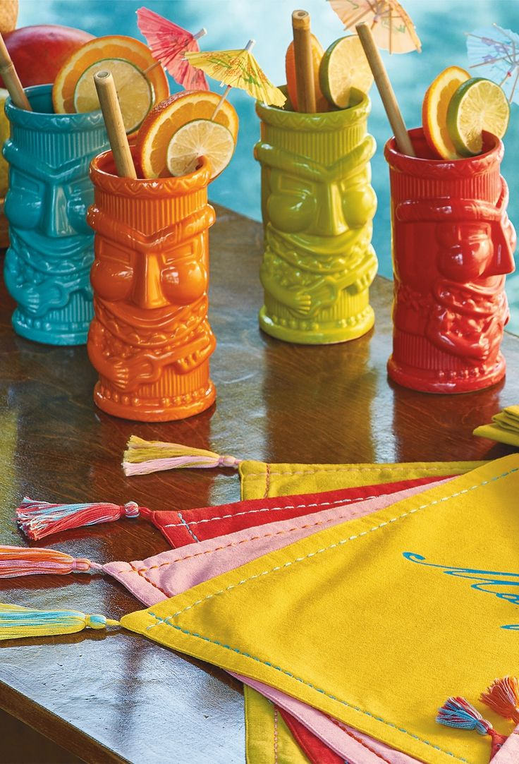You may not be able to shake the feeling that the tiki gods are watching you while you sip an exotic elixir from this fun, retro drinkware. | Margaritaville by Frontgate