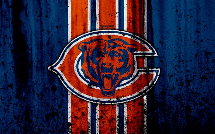 Download wallpapers 4k, Chicago Bears, grunge, NFL, american football, NFC, logo, USA, art, stone texture, North Division
