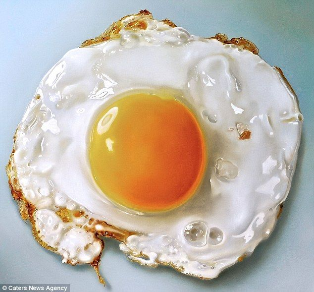 This is an oil painting, the mouth watering work of hyper-realistic Dutch artist Tjalf Sparnaay. Tjalf is considered one of the most important painters working the field of 'mega-realism', which is part of the global art movement of hyper realism. via dailymail.co.uk