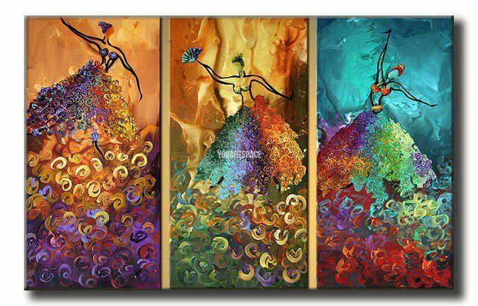 3 Piece Wall Art Peacock Abstract Dancers Dance Large