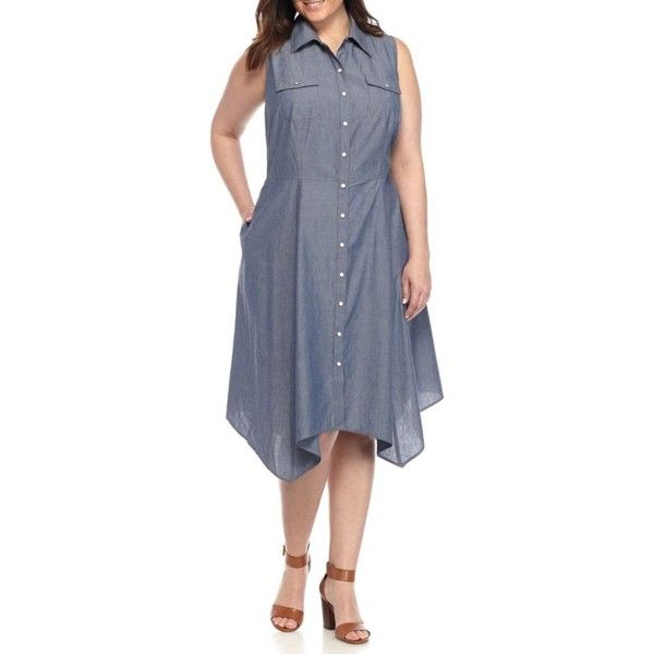 Madison Leigh Denim Plus Size Chambray Shirt Dress - Women's (91 CAD) ❤ liked on Polyvore featuring plus size women's fashion, plus size clothing, plus size dresses, denim, chambray dress, sleeveless denim dress, women plus size dresses, chambray shirt dress and t-shirt dresses