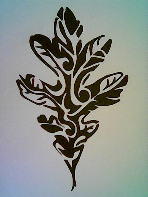 Black and White Oak Leaf Tattoo design                                                                                                                                                      More