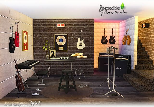 Pump Up The Volume Music Room Set By Simcredible Sims 4