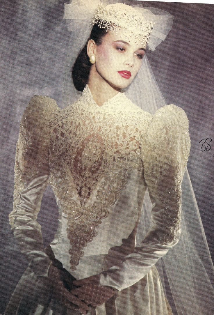 Typical example of the excesses--especially in bridal wear--of the 1980's.
