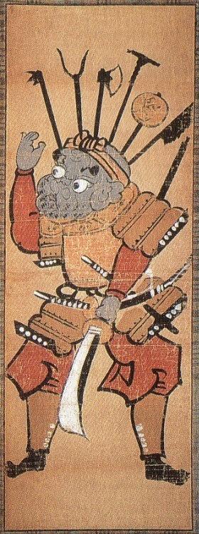 Benkei with Halberd, Otsu-e (Japanese Folk Painting)  18th Century, Edo Era. Benkei is a semi-legendary warrior-monk of the 12th century, who was associated with Minamoto no Yoshitsune (Ushiwakamaru) and a favorite subject in drama and art.