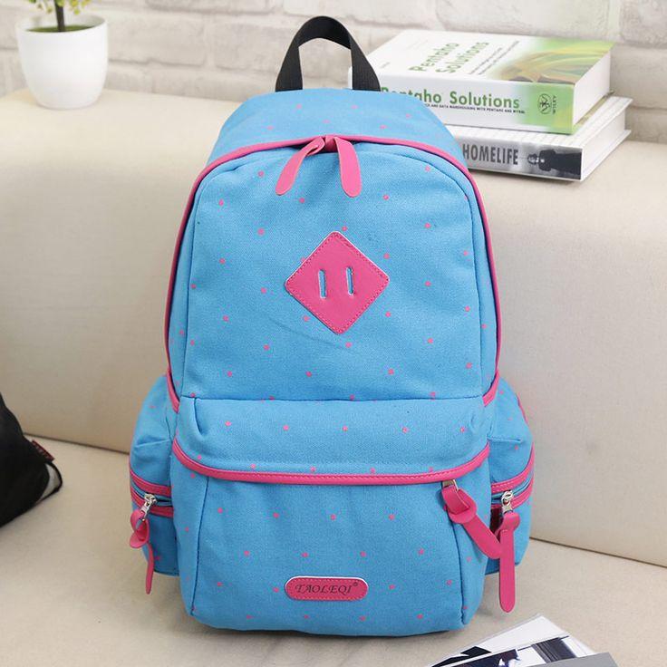 School Backpacks 2017 New Canvas Women College Schoolbag Polka Dot Stylish School Bags for Teenagers Girls Book Bag Mochilas #Affiliate