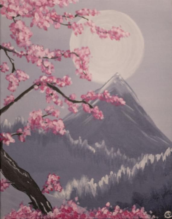 Pin By Albert Garcia On Glass Bottle Crafts Cherry Blossom Painting Cherry Blossom Art Cherry Blossom Painting Acrylic