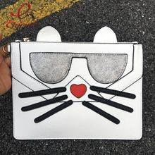 Nova moda bonito do divertimento lantejoulas forma de gato óculos saco envelope de couro pu embreagem bolsa de ombro cadeia saco senhoras bolsa crossbody alishoppbrasil