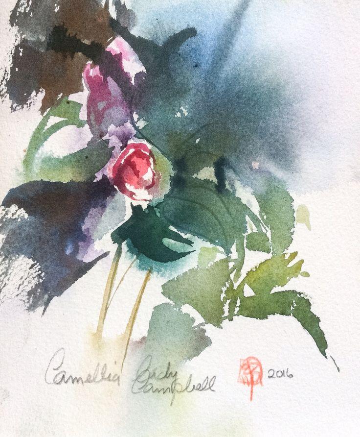 Camellia, Lady Cambbell. Watercolor. Erik Reinert 2016.