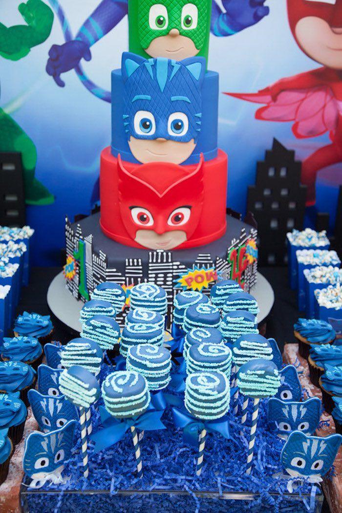 Party details from a PJ Masks Superhero Birthday Party via Kara's Party Ideas…