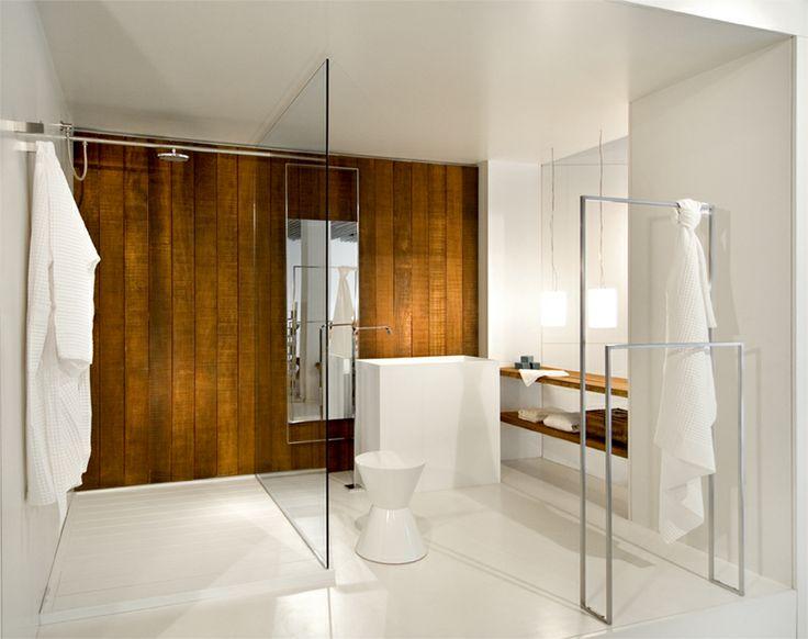 Lavabos Vidrio Para Baño:lavabo rectangular de diseño, zona de ducha con separación de vidrio