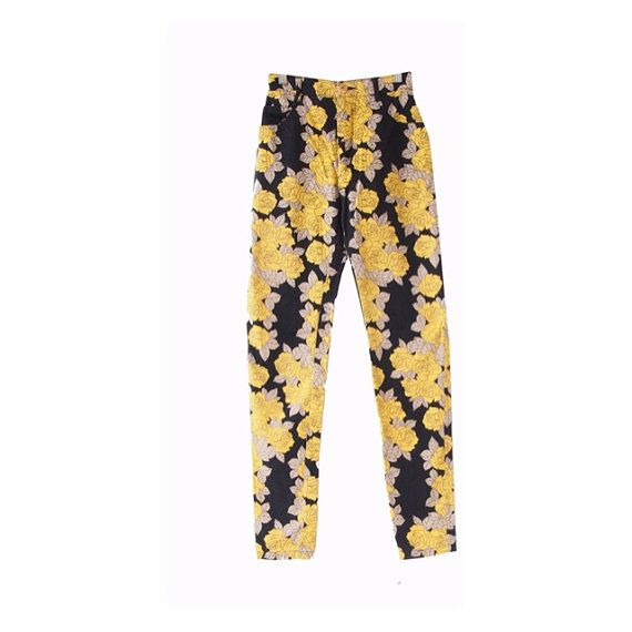 Vintage Yellow and Black Pant  Slim Fit Pant  Size Xs/S  by LPSNUG