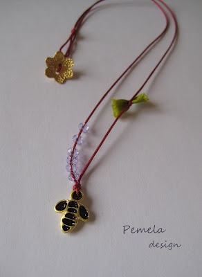 """the Bee & the flower"" Pendant made of silver with enamel and crystals by www.pemeladesign.com"