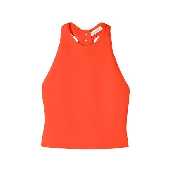 SemSem Salma Open Back Tank ($525) ❤ liked on Polyvore featuring tops, orange, tanks and camisoles, red cami top, orange tank top, orange tank, cami tank tops and red tank top