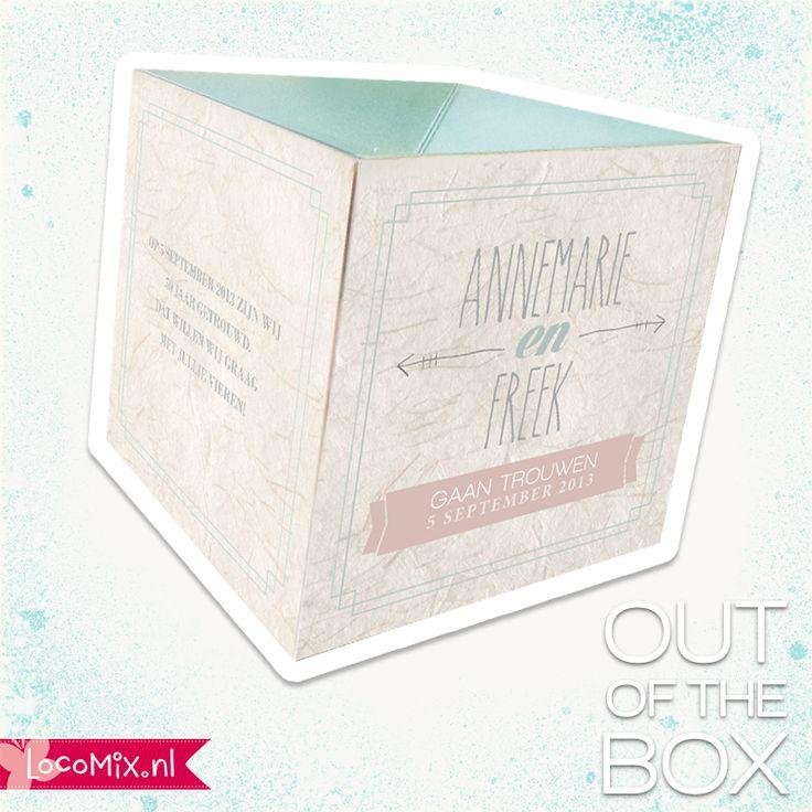 Op zoek naar een opvallende trouwkaart? Deze box knalt letterlijk uit de envelop! kijk op: http://www.trouwkaarten.nu/trouwkaarten/trouwkaarten-out-of-the-box/ #weddinginvitation #trouwkaarten #trouwen