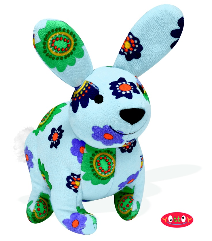 "Romeo Rabbit Soft Toy 9""  These soft toys, made of super soft colorfully printed velour with embroidered and hand-sewn details, are perfect for hugging, holding and gift giving!   Romeo Rabbit sees love everywhere, and is beautiful in a predominantly blue palette of flowers.    Item #84309  $17.00"