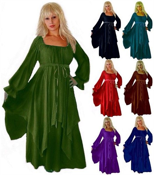 Ruffle Sleeve Peasant Renaissance Layered Dress