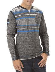Men V-neck Striped Long Sleeve Tee-Shirt