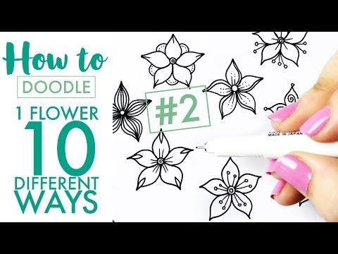How to doodle: 1 flower, 10 different ways #2 - EASY (real time/no speed up) - YouTube