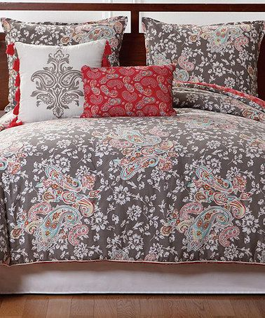 Take a look at this Gray & Pink Capri Comforter Set by Victoria Classics on #zulily today!