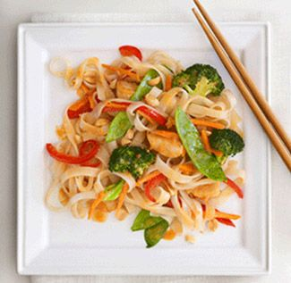 Dig into this Thai-style chicken stir-fry. It gets its authentic flavor from the peanut sauce and rice noodles. Look for them in the Asian food section of your local market.